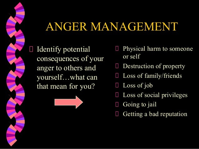 ANGER MANAGEMENTIdentify potentialconsequences of youranger to others andyourself…what canthat mean for you?Physical harm ...