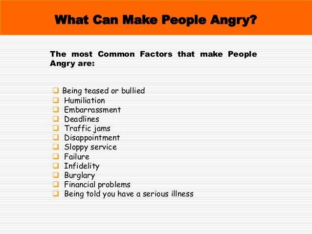 Types of Anger 01. Behavioral Anger 02. Verbal Anger 03. Passive Anger 04. Self-inflicted Anger 05. Chronic Anger 06. Judg...