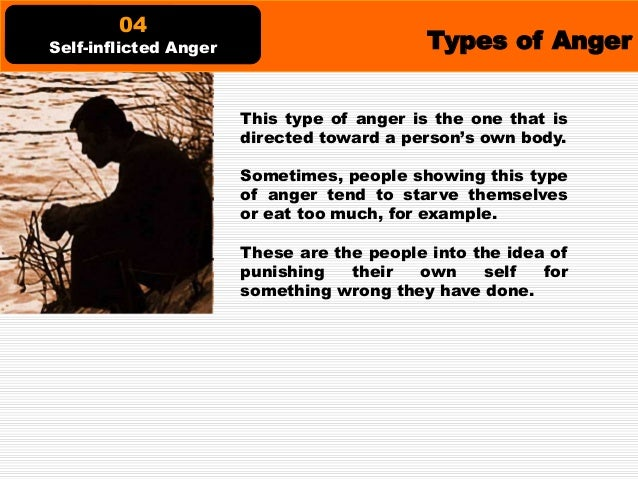 Types of Anger People with chronic anger are just angry in general. They are angry with their lives, with their selves, wi...