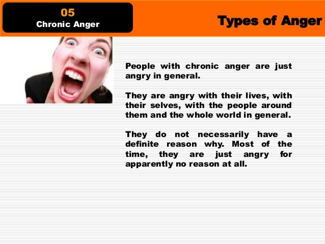 Types of Anger This type of anger would lead somebody to hurtfully shame the people around him, like his family, friends a...