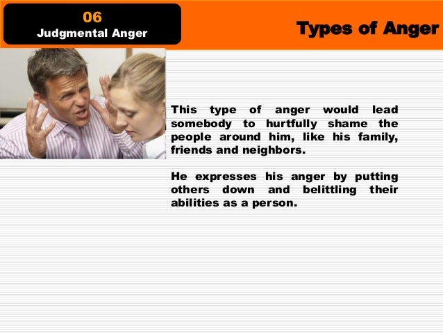 Types of Anger This type of anger is seen on people that hate the situations happening around them that directly affect th...