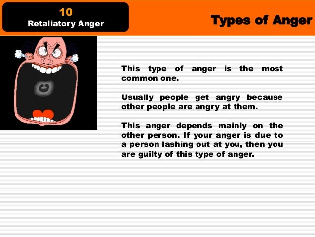 Types of Anger This anger arises if a person feels, in an irrational way, that they are intimidated by others. People with...
