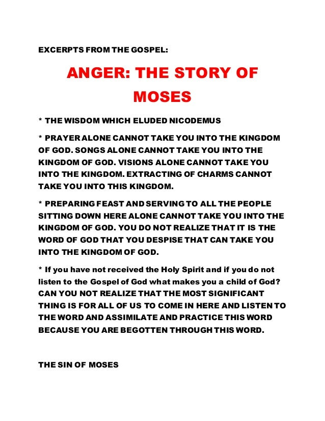 Anger The Story Of Moses