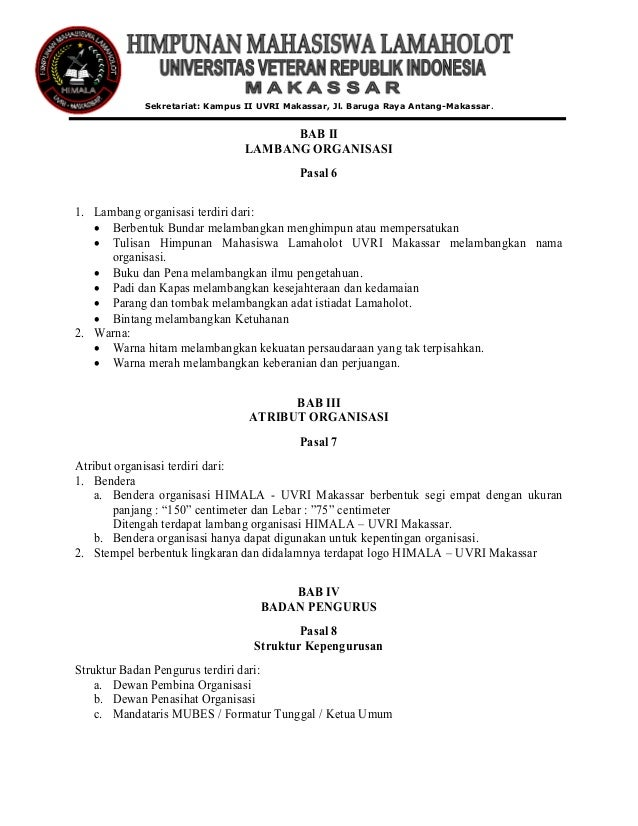 Anggaran Rumah Tangga Himala Uvri Makassar