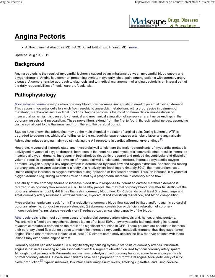 Angina Pectoris                                                                                http://emedicine.medscape.c...