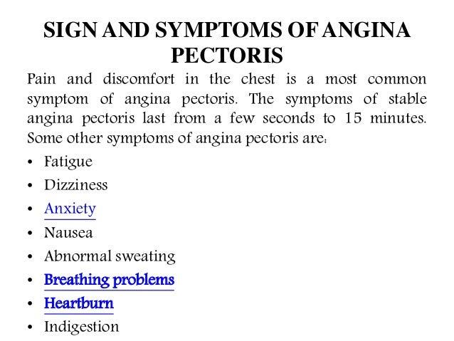 angina pectoris symtom