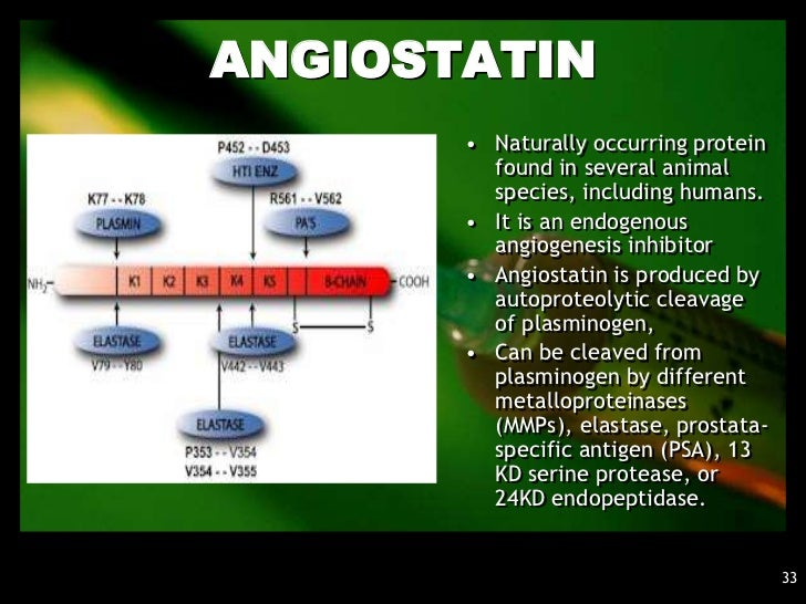 ANGIOSTATIN•   It is a 57 kDa fragment of a    larger protein, Plasmin    (itself a fragment of    plasminogen)•   Enclose...