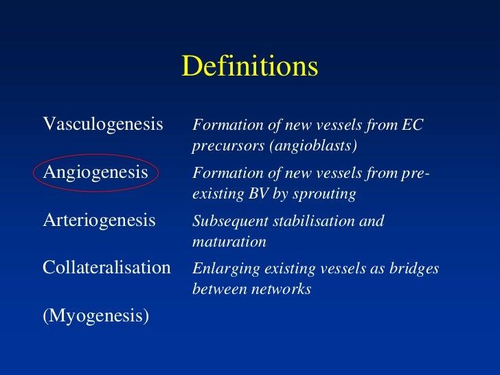 DefinitionsVasculogenesis      Formation of new vessels from EC                    precursors (angioblasts)Angiogenesis   ...