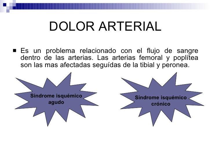 DOLOR ARTERIAL <ul><li>Es un problema relacionado con el flujo de sangre dentro de las arterias. Las arterias femoral y po...