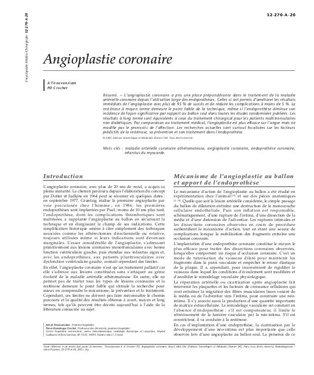 Angioplastie coronaire  A Tirouvanziam  PD Crochet  Résumé. – L'angioplastie coronaire a pris une place prépondérante dans...