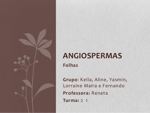 ANGIOSPERMAS Folhas Grupo: Keila, Aline, Yasmin, Lorraine Maira e Fernando Professora: Renata Turma: 2 1