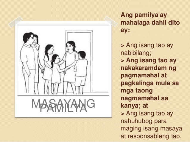 Sanaysay tungkol sa pamilyang masaya. Ang Pamilya. 2019-03-01