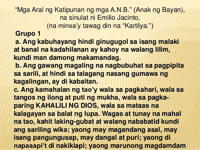 13 na kartilya ¿anó ang magiging kalagayan sa darating na panahun (what hopes do they have for the future) (expected answer) with faith the term kartilya was derived from spanish cartilla on august 13, 1896, fr agustín fernández, an augustinian curate of san pedro.