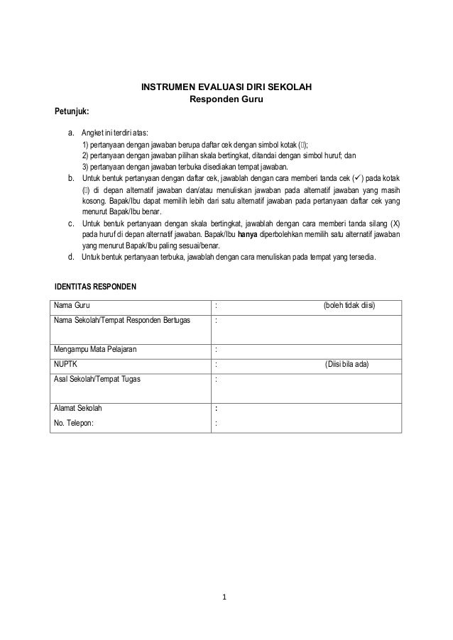Angket Evaluasi Diri Guru Smp