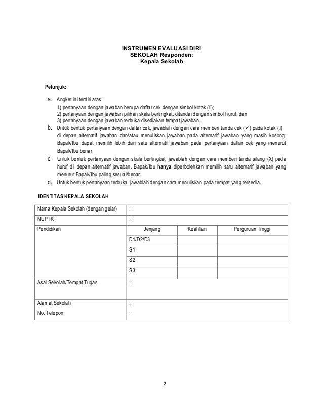 Angket Evaluasi Diri Kepala Sekolah Smp