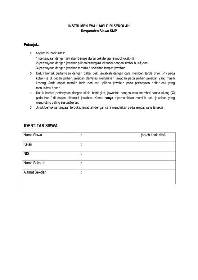 Angket Evaluasi Diri Siswa Smp