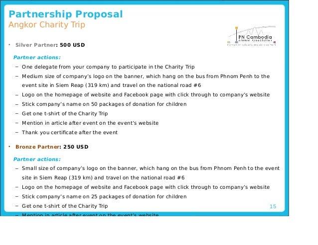 ... 15. 15 Partnership Proposal Angkor Charity Trip ...  Charity Proposal