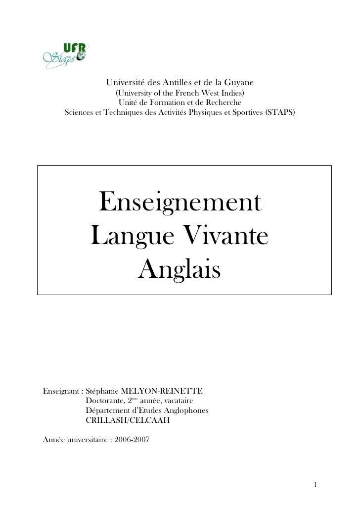 Université des Antilles et de la Guyane                     (University of the French West Indies)                      Un...