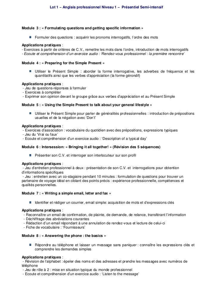 Formation Anglais Professionnel Niveau 1