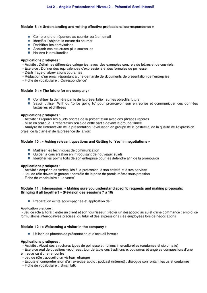 Formation Anglais Professionnel Niveau 2