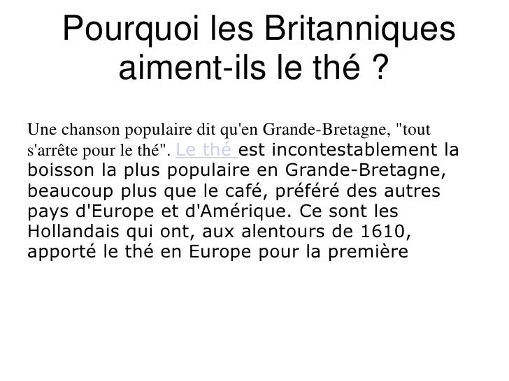 """Pourquoi les Britanniques aiment-ils le thé ? <br />Une chanson populaire dit qu'en Grande-Bretagne, """"tout s'arrête pour ..."""