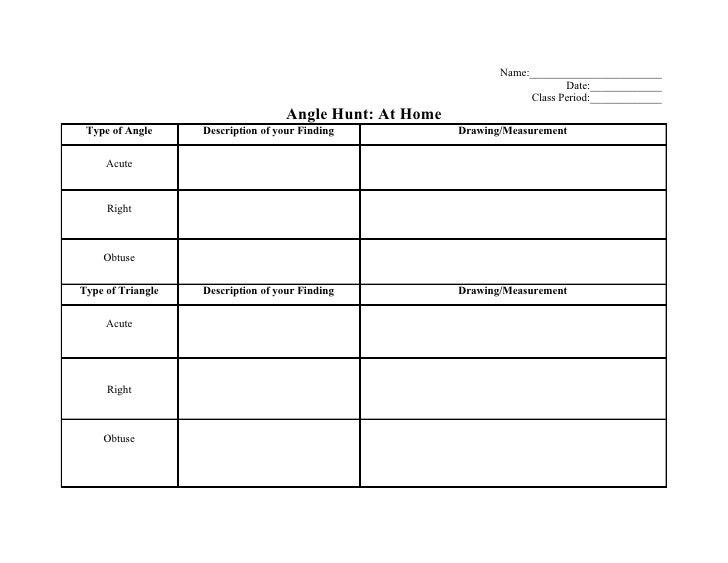 Angle Hunt Worksheets – Drawing Angles Worksheet