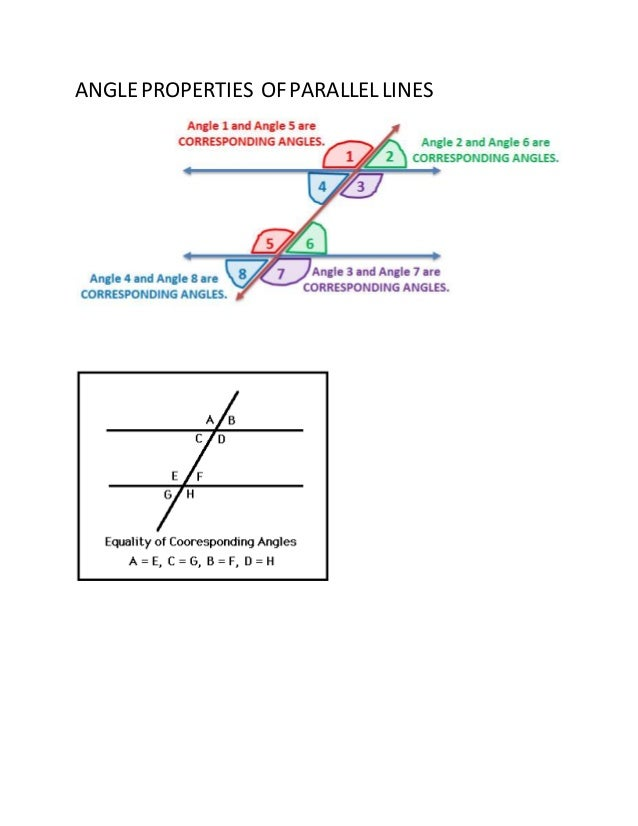 Angle properties of parallel lines