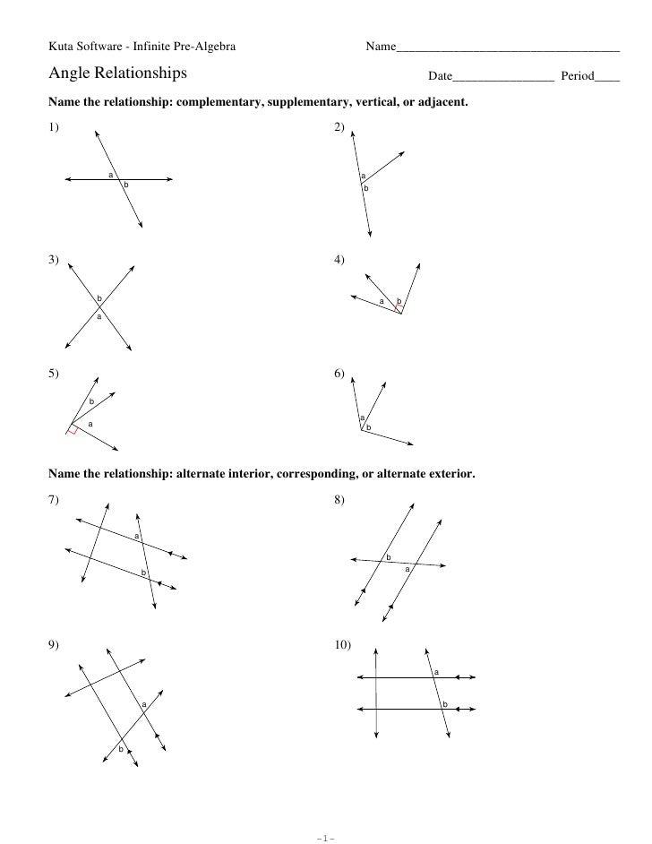 Angle Relationships Angle Relationship Proofs Worksheet Angle Relationships Kuta Software Infinite Pre Algebra