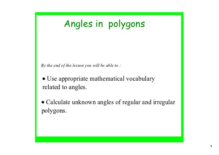Angles 2 In Polygons