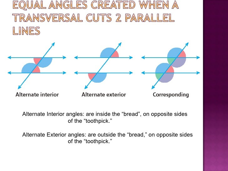Angles created by transversal and paralle - Alternate interior exterior angles ...