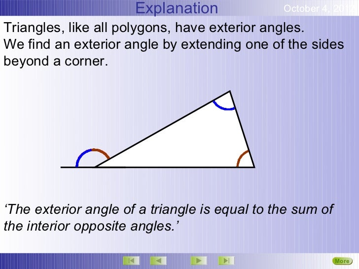 Angles exterior angles - The exterior angle of a triangle is equal to ...