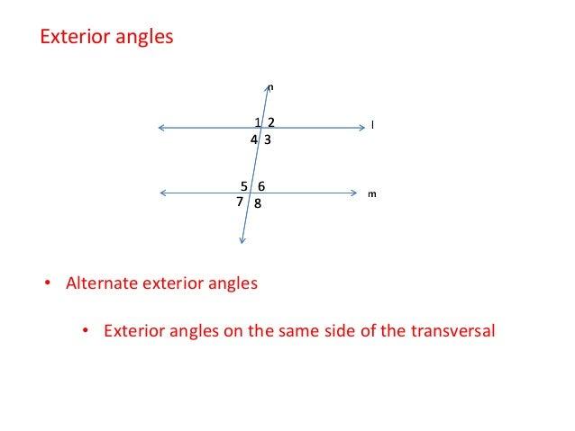 ... Alternate Interior Angles; 7. U2022 Exterior Angles On The Same Side Of ...