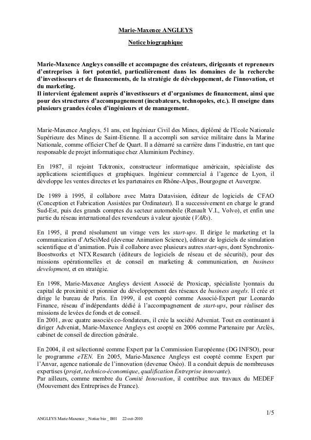 Marie-Maxence ANGLEYS Notice biographique Marie-Maxence Angleys conseille et accompagne des créateurs, dirigeants et repre...