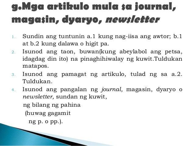 ang listahan ng mga sanggunian  filipino