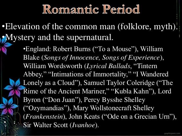 """•Elevation of the common man (folklore, myth). •Mystery and the supernatural. •England: Robert Burns (""""To a Mouse""""), Willi..."""