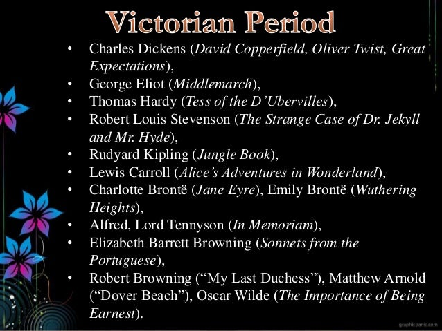• Charles Dickens (David Copperfield, Oliver Twist, Great Expectations), • George Eliot (Middlemarch), • Thomas Hardy (Tes...
