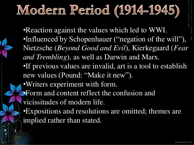 """•Reaction against the values which led to WWI. •Influenced by Schopenhauer (""""negation of the will""""), Nietzsche (Beyond Goo..."""