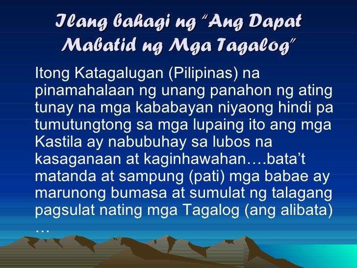 ang dapat mabatid ng mga tagalog summary