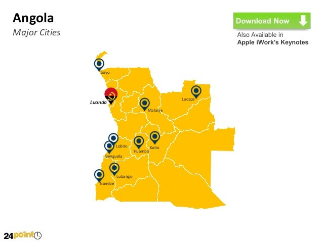 Angola Map Fully Editable PowerPoint - Angola provinces map