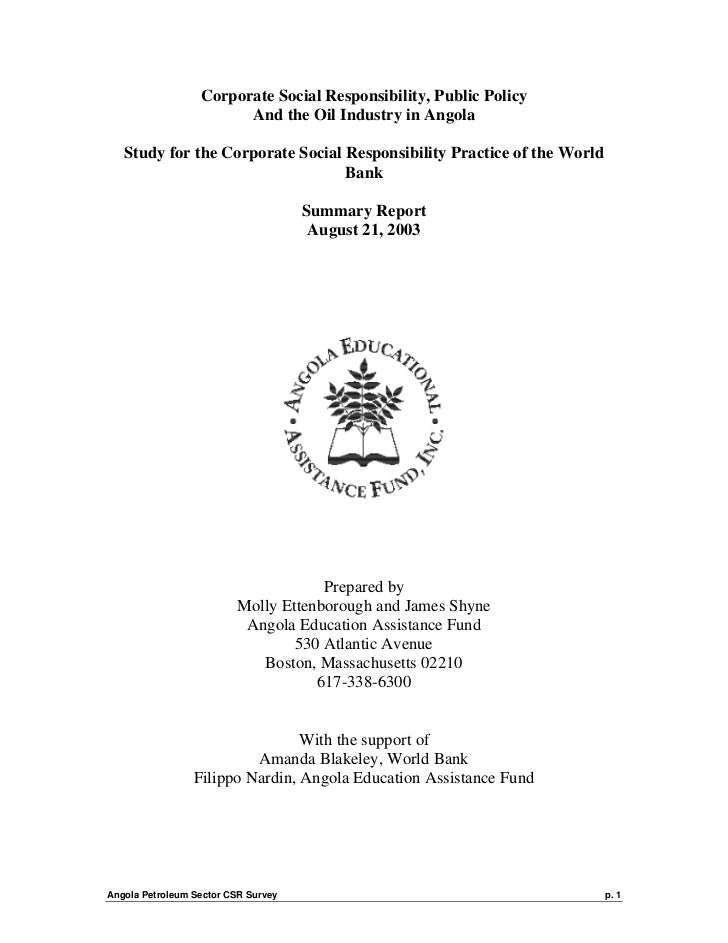 Corporate Social Responsibility, Public Policy                        And the Oil Industry in Angola   Study for the Corpo...