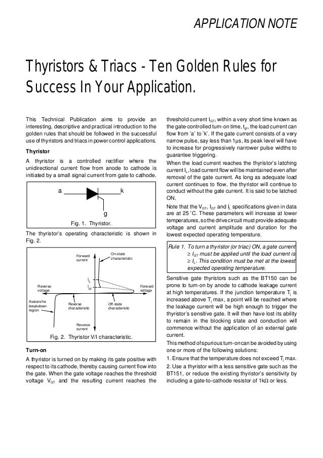 APPLICATION NOTE Thyristors & Triacs - Ten Golden Rules for Success In Your Application. This Technical Publication aims t...