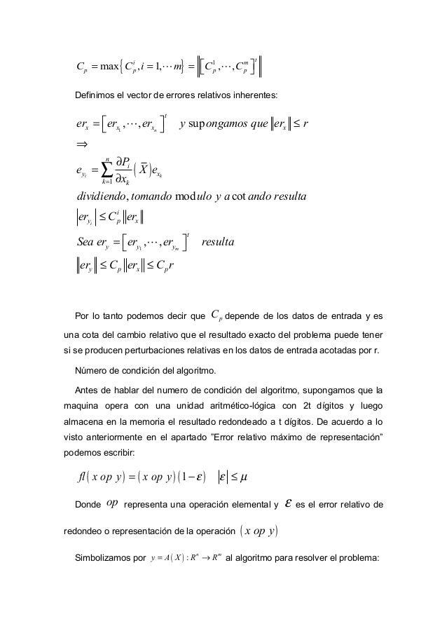 ( ) : n m Y P X R R= → . Si no existieran errores de redondeo ocurriría: ( ) ( )A X P X= . Pero nos interesa cuantificar l...