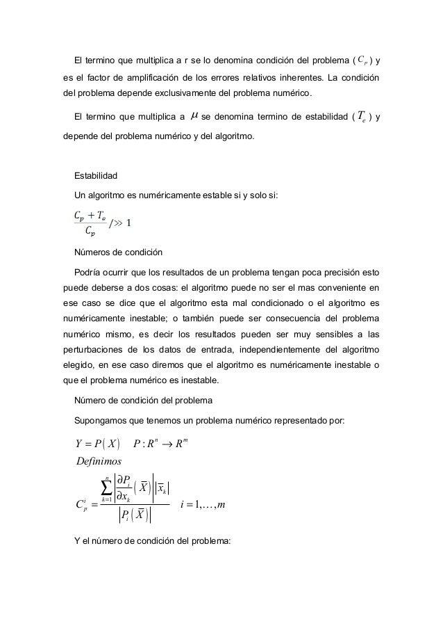 { } 1 max , 1, , , ti m p p p pC C i m C C = = =  L L Definimos el vector de errores relativos inherentes: ( ) 1 1 1 ,...