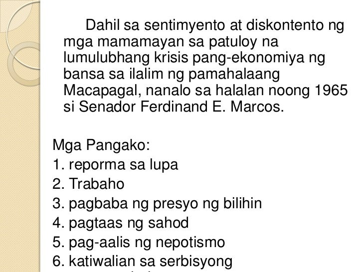 Mga nagawa ni dating pangulong marcos. dating both genders at the same time.