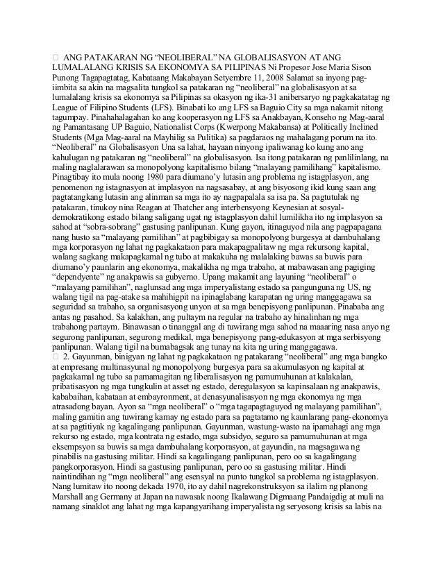 """ ANG PATAKARAN NG """"NEOLIBERAL"""" NA GLOBALISASYON AT ANG LUMALALANG KRISIS SA EKONOMYA SA PILIPINAS Ni Propesor Jose Maria ..."""