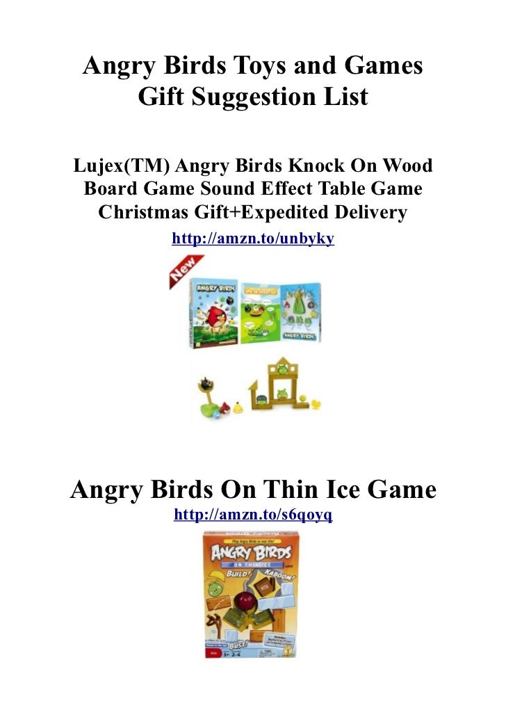 Angry Birds Toys and Games    Gift Suggestion ListLujex(TM) Angry Birds Knock On Wood Board Game Sound Effect Table Game  ...