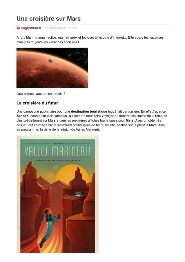 Une croisière sur Mars angrymum.fr/une-croisiere-sur-mars/ Angry Mum, maman active, maman geek et toujours à l'écoute d'In...