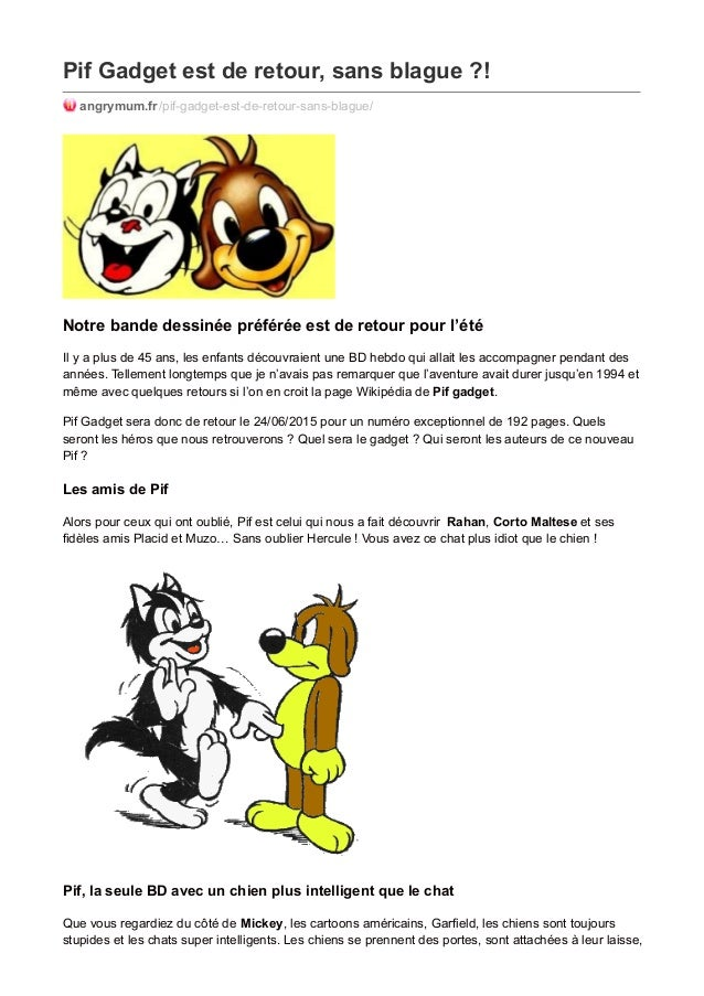 Pif Gadget est de retour, sans blague ?! angrymum.fr/pif-gadget-est-de-retour-sans-blague/ Notre bande dessinée préférée e...