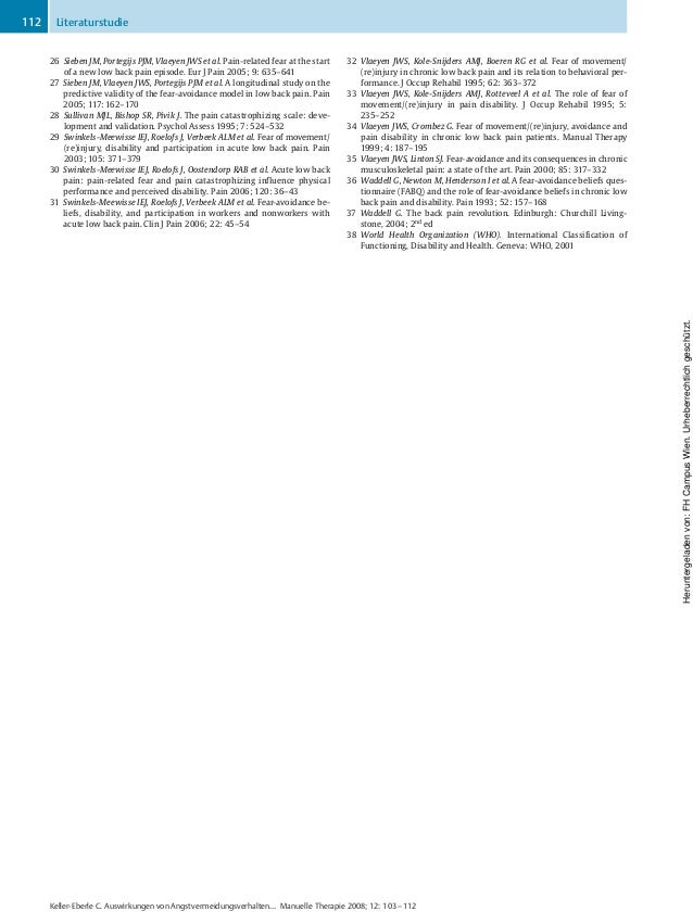 26 Sieben JM, Portegijs PJM, Vlaeyen JWS et al. Pain-related fear at the start of a new low back pain episode. Eur J Pain ...
