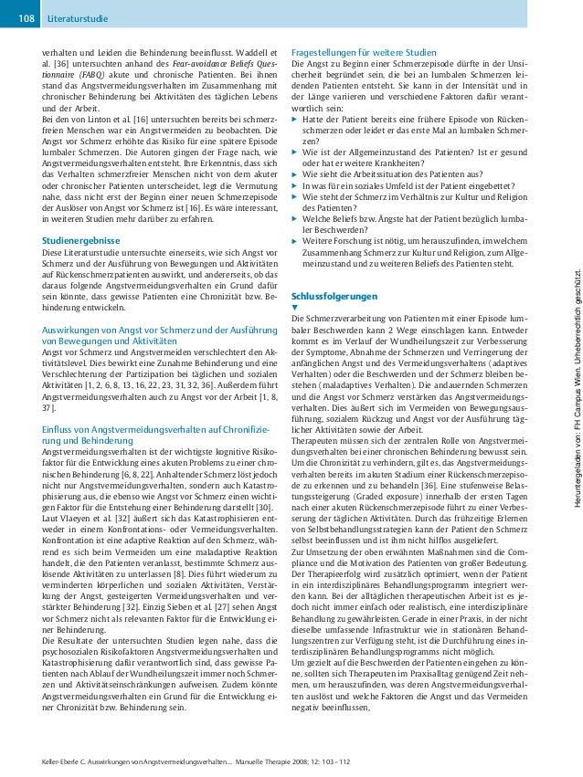 verhalten und Leiden die Behinderung beeinflusst. Waddell et al. [36] untersuchten anhand des Fear-avoidance Beliefs Ques-...
